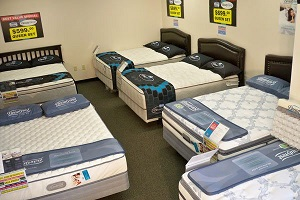 mattress sale display room at Best Value Mattress Warehouse Indianapolis