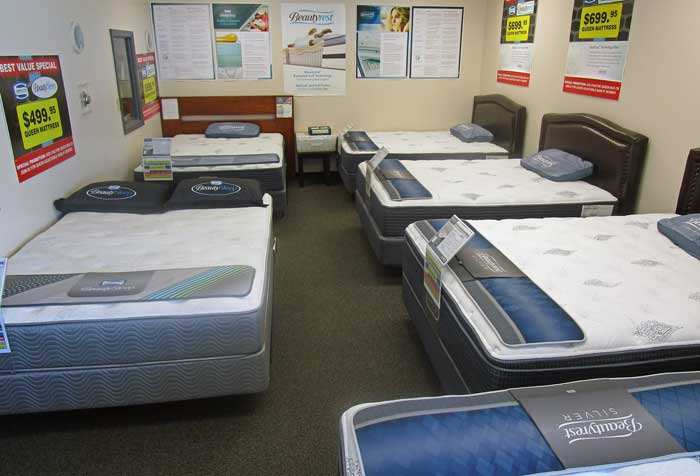 Beautyrest mattress sale display room at Best Value Mattress Warehouse Indianapolis